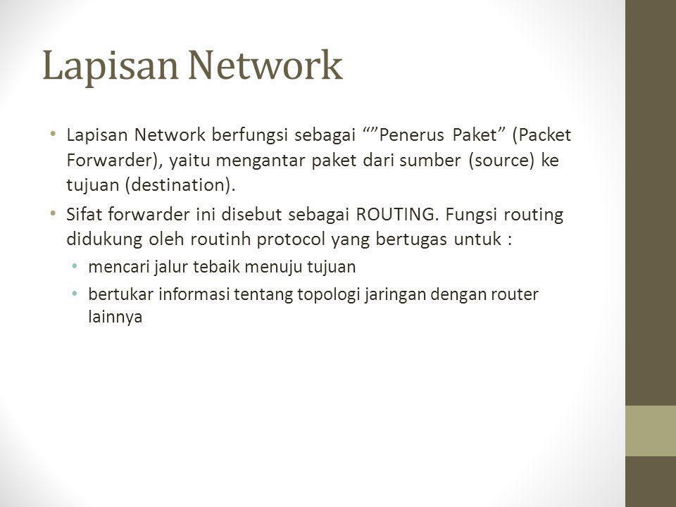 """Lapisan Network • Lapisan Network berfungsi sebagai """"""""Penerus Paket"""" (Packet Forwarder), yaitu mengantar paket dari sumber (source) ke tujuan (destina"""