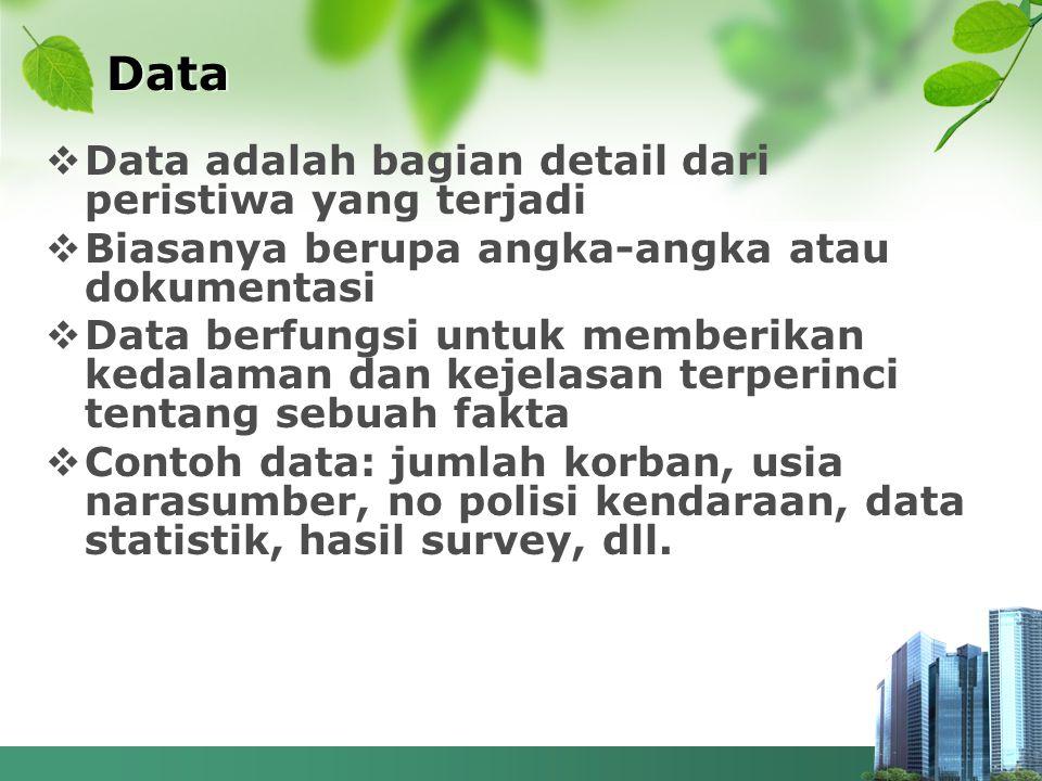  Data adalah bagian detail dari peristiwa yang terjadi  Biasanya berupa angka-angka atau dokumentasi  Data berfungsi untuk memberikan kedalaman dan