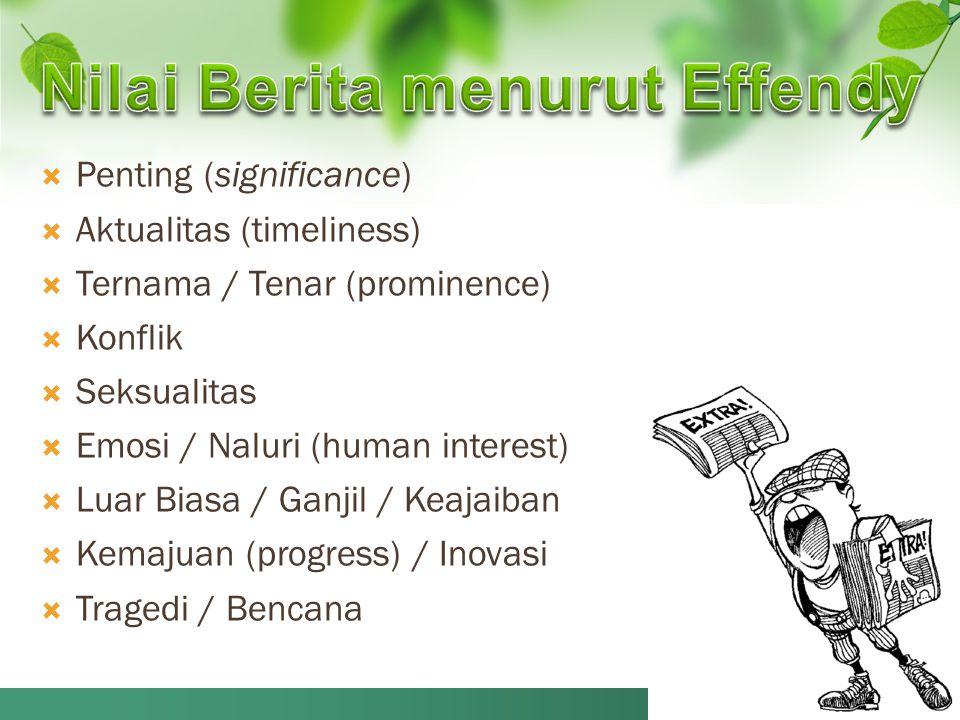  Penting (significance)  Aktualitas (timeliness)  Ternama / Tenar (prominence)  Konflik  Seksualitas  Emosi / Naluri (human interest)  Luar Bia