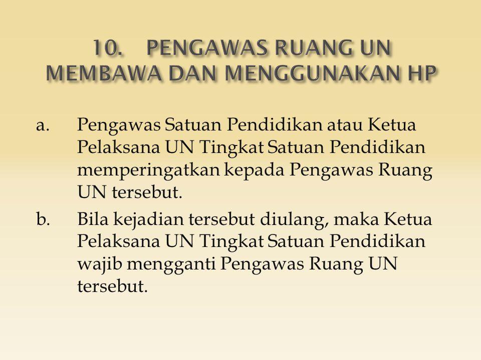 a.Pengawas Satuan Pendidikan atau Ketua Pelaksana UN Tingkat Satuan Pendidikan memperingatkan kepada Pengawas Ruang UN tersebut. b.Bila kejadian terse