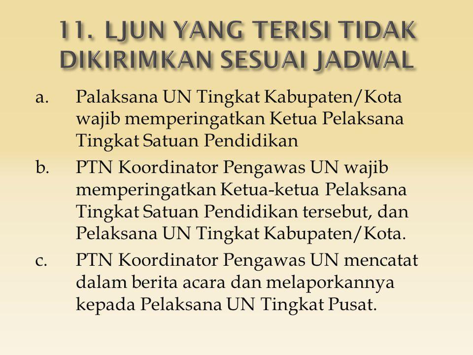 a.Palaksana UN Tingkat Kabupaten/Kota wajib memperingatkan Ketua Pelaksana Tingkat Satuan Pendidikan b.PTN Koordinator Pengawas UN wajib memperingatka