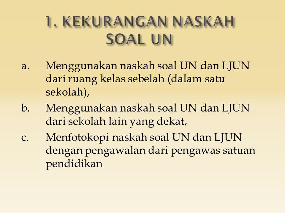 a.Menggunakan naskah soal UN dan LJUN dari ruang kelas sebelah (dalam satu sekolah), b.Menggunakan naskah soal UN dan LJUN dari sekolah lain yang dekat, c.Menfotokopi naskah soal UN dan LJUN dengan pengawalan dari pengawas satuan pendidikan