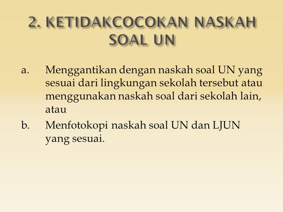 a.Menggantikan dengan naskah soal UN yang sesuai dari lingkungan sekolah tersebut atau menggunakan naskah soal dari sekolah lain, atau b.Menfotokopi naskah soal UN dan LJUN yang sesuai.