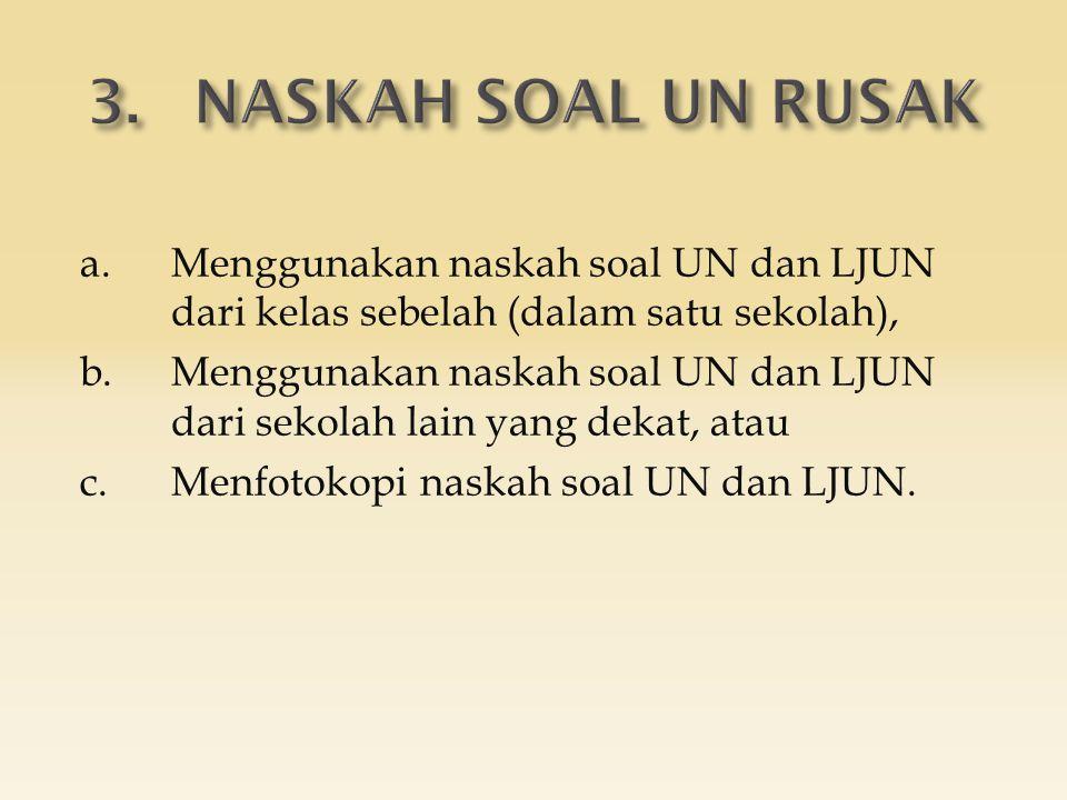 a.Menggunakan naskah soal UN dan LJUN dari kelas sebelah (dalam satu sekolah), b.Menggunakan naskah soal UN dan LJUN dari sekolah lain yang dekat, ata