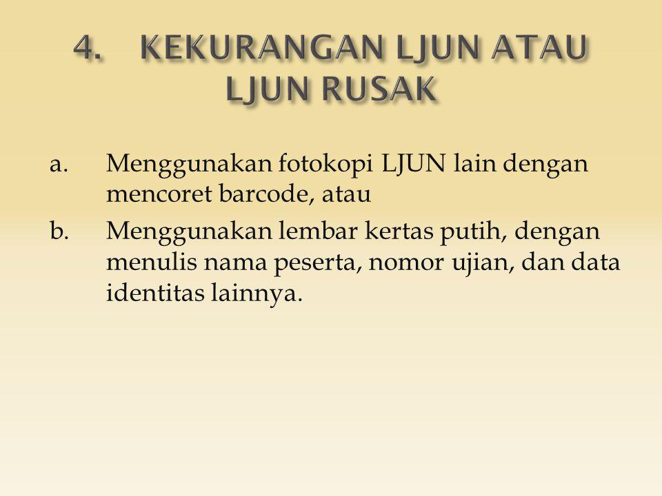 a.Menggunakan fotokopi LJUN lain dengan mencoret barcode, atau b.Menggunakan lembar kertas putih, dengan menulis nama peserta, nomor ujian, dan data identitas lainnya.