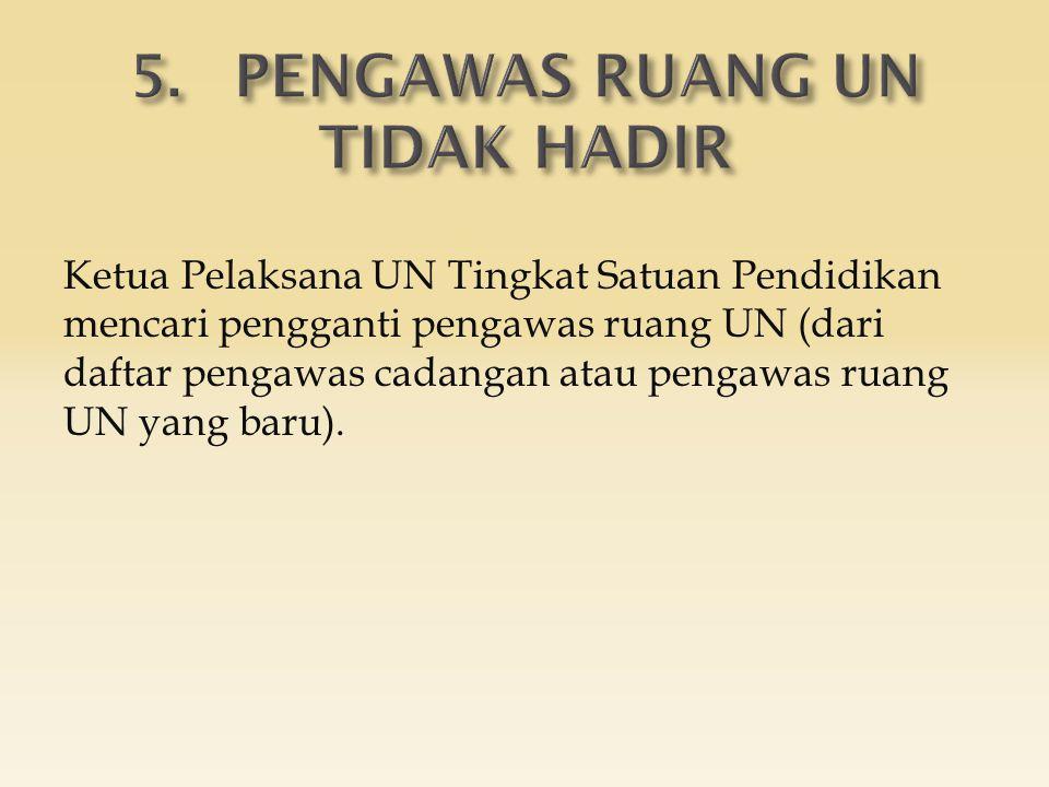Ketua Pelaksana UN Tingkat Satuan Pendidikan mencari pengganti pengawas ruang UN (dari daftar pengawas cadangan atau pengawas ruang UN yang baru).