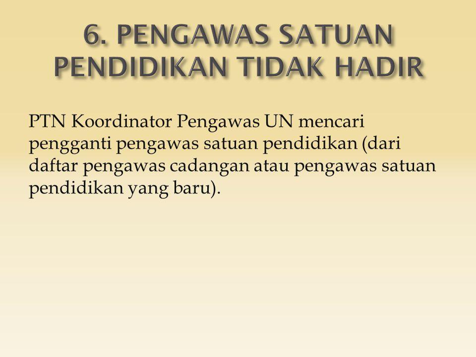 PTN Koordinator Pengawas UN mencari pengganti pengawas satuan pendidikan (dari daftar pengawas cadangan atau pengawas satuan pendidikan yang baru).