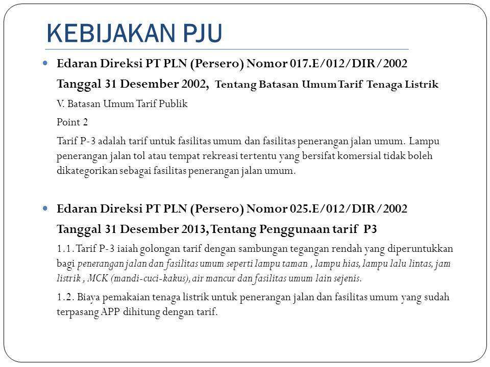 KEBIJAKAN PJU  Edaran Direksi PT PLN (Persero) Nomor 017.E/012/DIR/2002 Tanggal 31 Desember 2002, Tentang Batasan Umum Tarif Tenaga Listrik V. Batasa