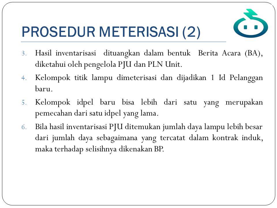 PROSEDUR METERISASI (2) 3. Hasil inventarisasi dituangkan dalam bentuk Berita Acara (BA), diketahui oleh pengelola PJU dan PLN Unit. 4. Kelompok titik