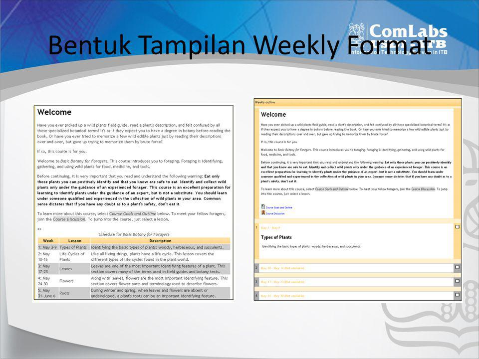 Bentuk Tampilan Weekly Format