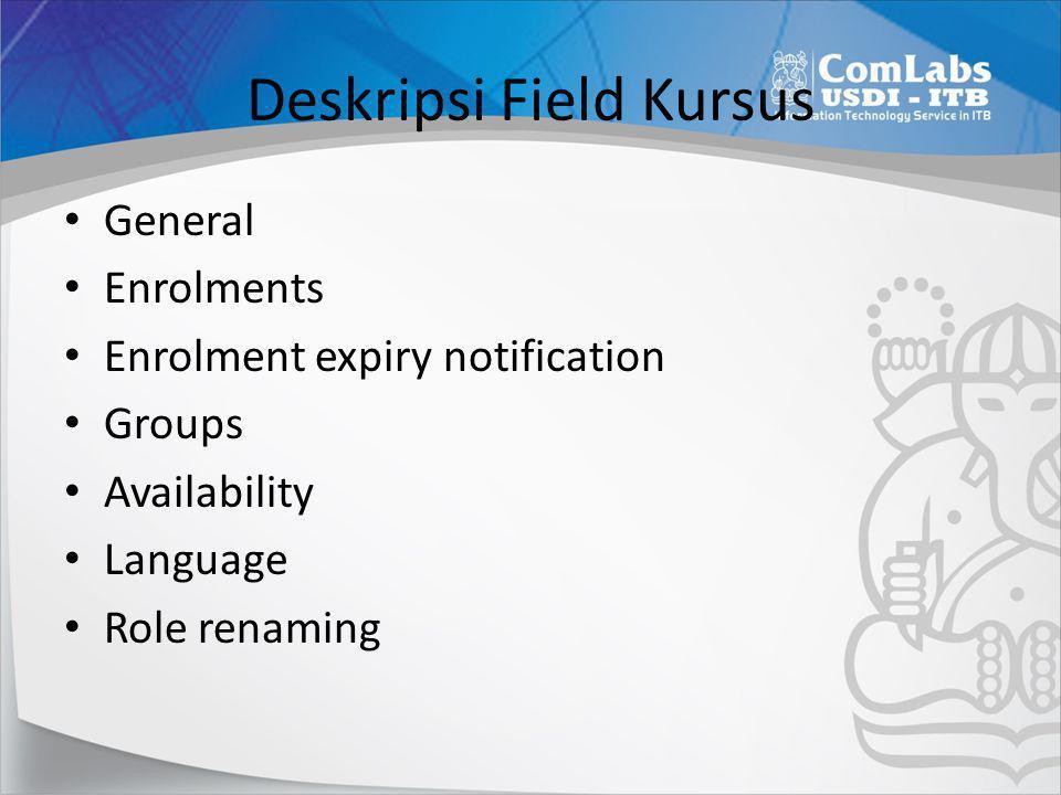 Deskripsi Field Kursus • General • Enrolments • Enrolment expiry notification • Groups • Availability • Language • Role renaming