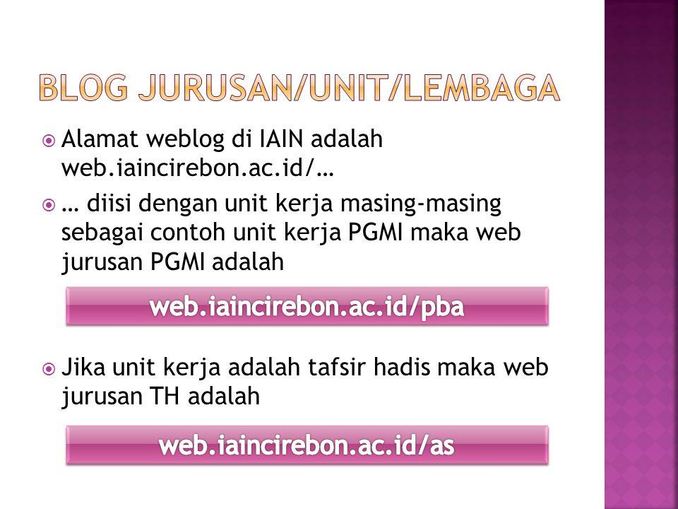  Alamat weblog di IAIN adalah web.iaincirebon.ac.id/…  … diisi dengan unit kerja masing-masing sebagai contoh unit kerja PGMI maka web jurusan PGMI