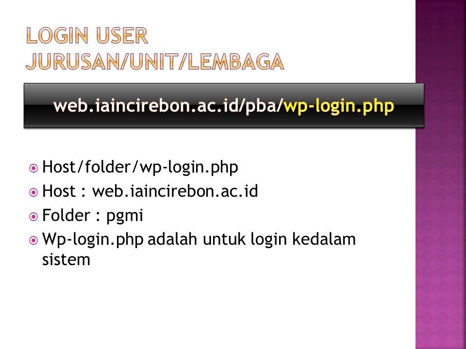  Host/folder/wp-login.php  Host : web.iaincirebon.ac.id  Folder : pgmi  Wp-login.php adalah untuk login kedalam sistem