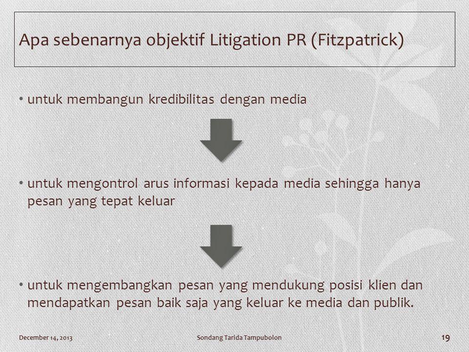 Apa sebenarnya objektif Litigation PR (Fitzpatrick) • untuk membangun kredibilitas dengan media • untuk mengontrol arus informasi kepada media sehingg