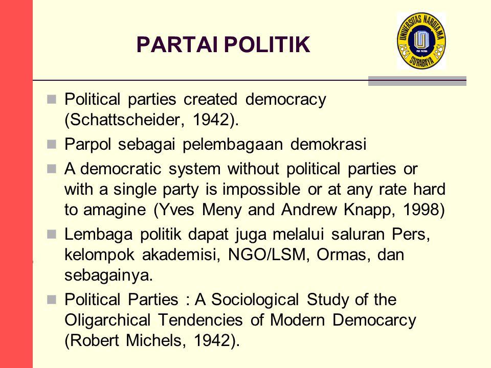 PARTAI POLITIK  Political parties created democracy (Schattscheider, 1942).  Parpol sebagai pelembagaan demokrasi  A democratic system without poli
