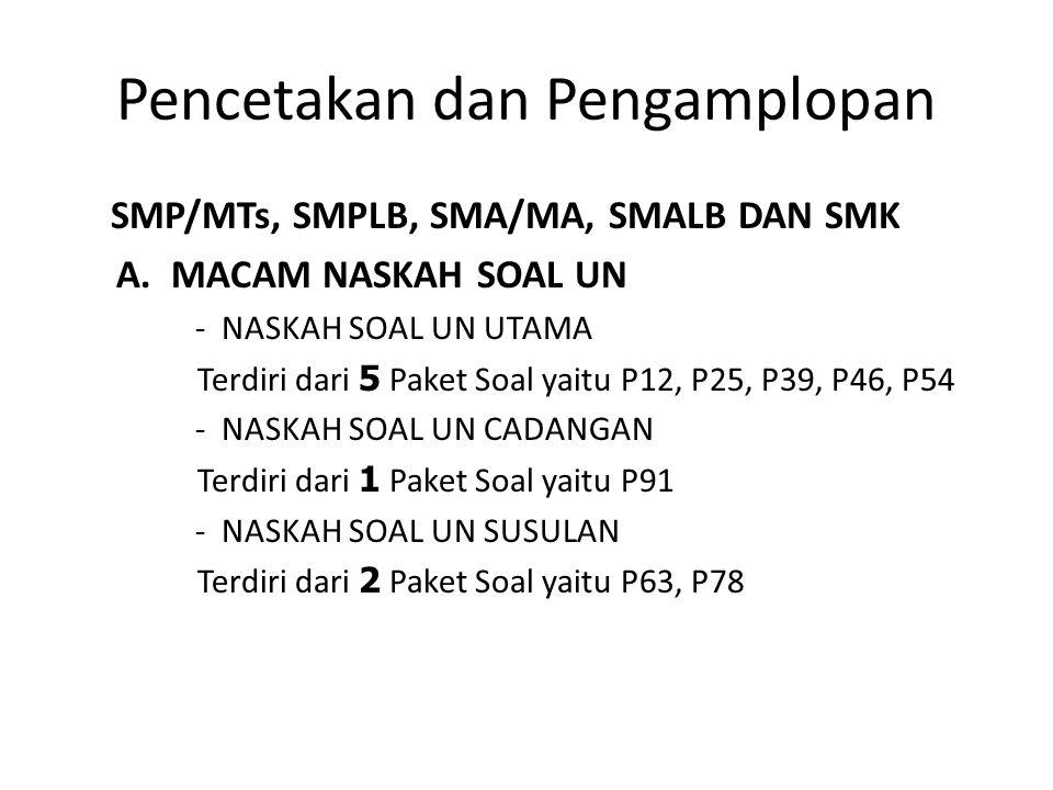 Pencetakan dan Pengamplopan SMP/MTs, SMPLB, SMA/MA, SMALB DAN SMK A. MACAM NASKAH SOAL UN - NASKAH SOAL UN UTAMA Terdiri dari 5 Paket Soal yaitu P12,