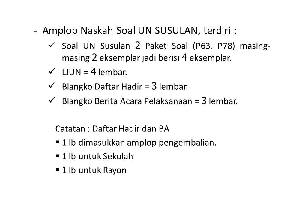 - Amplop Naskah Soal UN SUSULAN, terdiri :  Soal UN Susulan 2 Paket Soal (P63, P78) masing- masing 2 eksemplar jadi berisi 4 eksemplar.  LJUN = 4 le