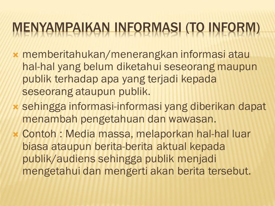  memberitahukan/menerangkan informasi atau hal-hal yang belum diketahui seseorang maupun publik terhadap apa yang terjadi kepada seseorang ataupun pu