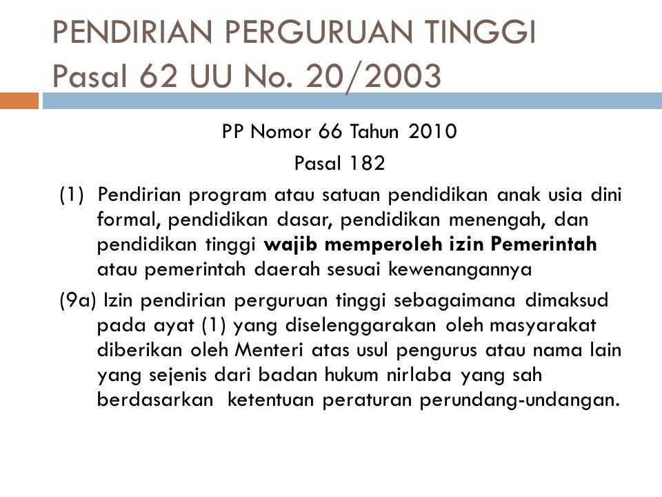 PENDIRIAN PERGURUAN TINGGI Pasal 62 UU No. 20/2003 PP Nomor 66 Tahun 2010 Pasal 182 (1) Pendirian program atau satuan pendidikan anak usia dini formal