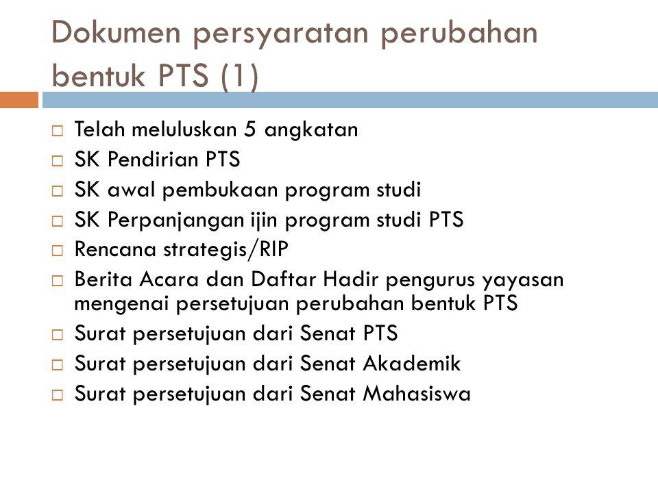 Dokumen persyaratan perubahan bentuk PTS (1)  Telah meluluskan 5 angkatan  SK Pendirian PTS  SK awal pembukaan program studi  SK Perpanjangan ijin