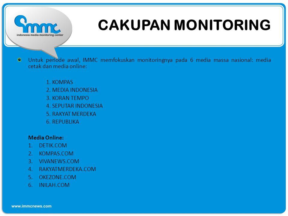 CAKUPAN MONITORING Untuk periode awal, IMMC memfokuskan monitoringnya pada 6 media massa nasional: media cetak dan media online: 1. KOMPAS 2. MEDIA IN