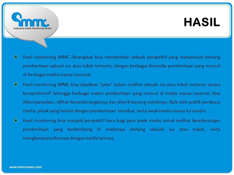 HASIL Hasil monitoring IMMC diharapkan bisa memberikan sebuah perspektif yang menyeluruh tentang pemberitaan sebuah isu atau tokoh tertentu, dengan be