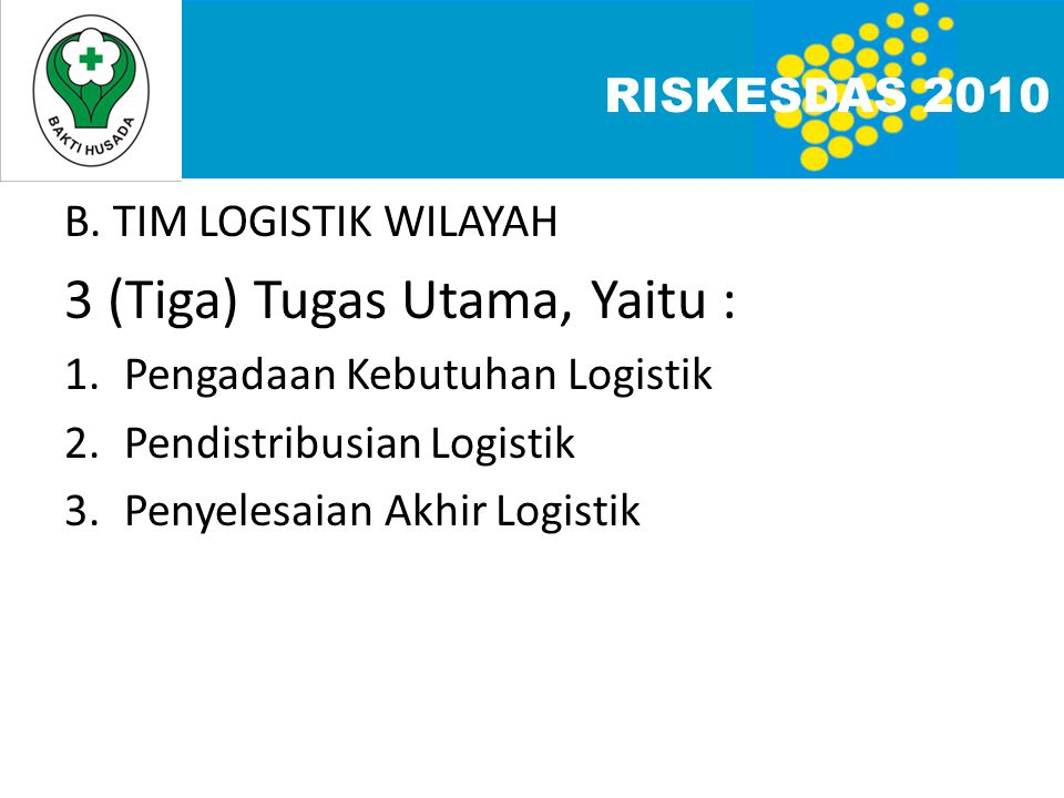 B. TIM LOGISTIK WILAYAH 3 (Tiga) Tugas Utama, Yaitu : 1.Pengadaan Kebutuhan Logistik 2.Pendistribusian Logistik 3.Penyelesaian Akhir Logistik RISKESDA