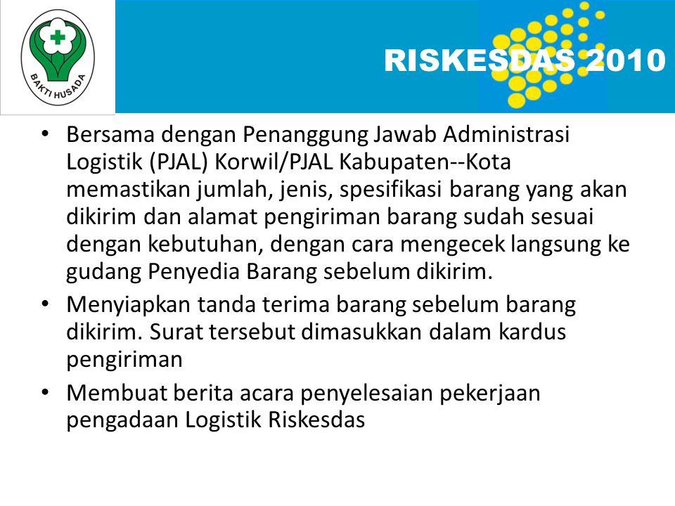 • Bersama dengan Penanggung Jawab Administrasi Logistik (PJAL) Korwil/PJAL Kabupaten--Kota memastikan jumlah, jenis, spesifikasi barang yang akan diki