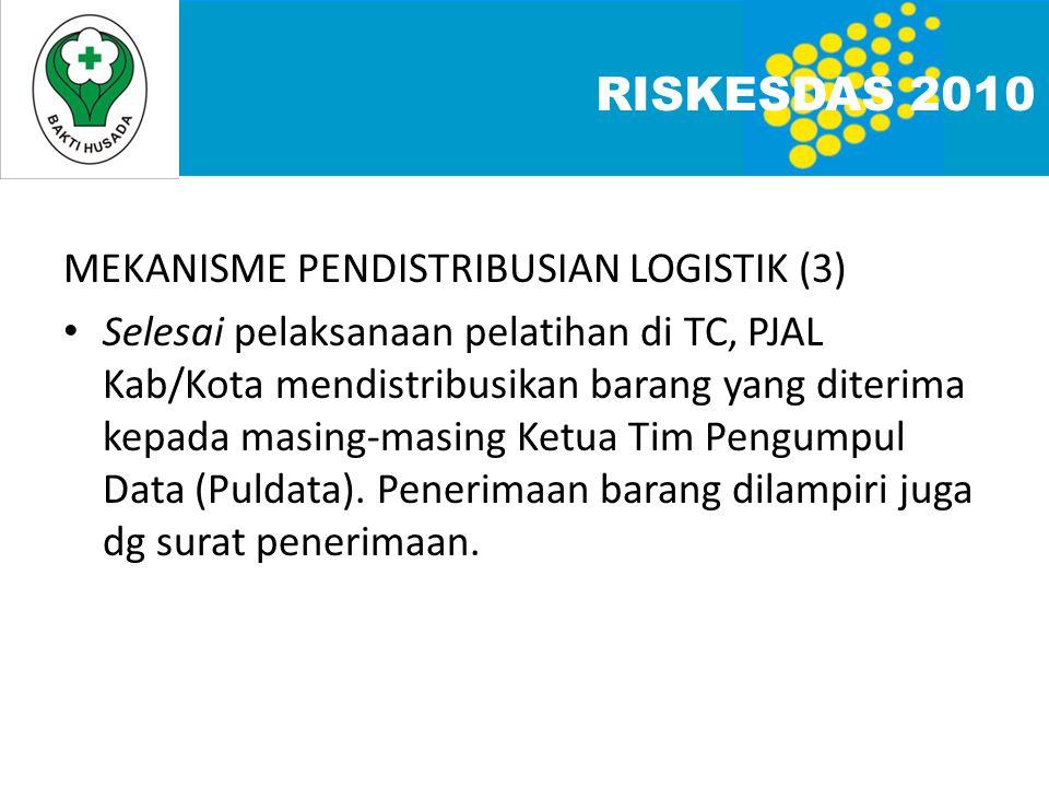 MEKANISME PENDISTRIBUSIAN LOGISTIK (3) • Selesai pelaksanaan pelatihan di TC, PJAL Kab/Kota mendistribusikan barang yang diterima kepada masing-masing