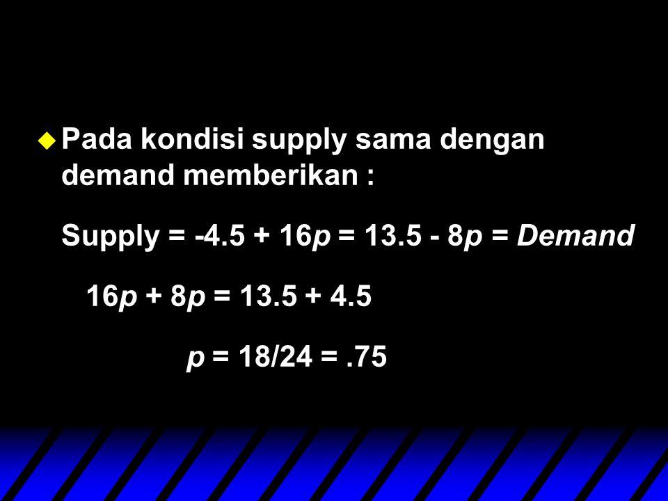 u Pada kondisi supply sama dengan demand memberikan : Supply = -4.5 + 16p = 13.5 - 8p = Demand 16p + 8p = 13.5 + 4.5 p = 18/24 =.75