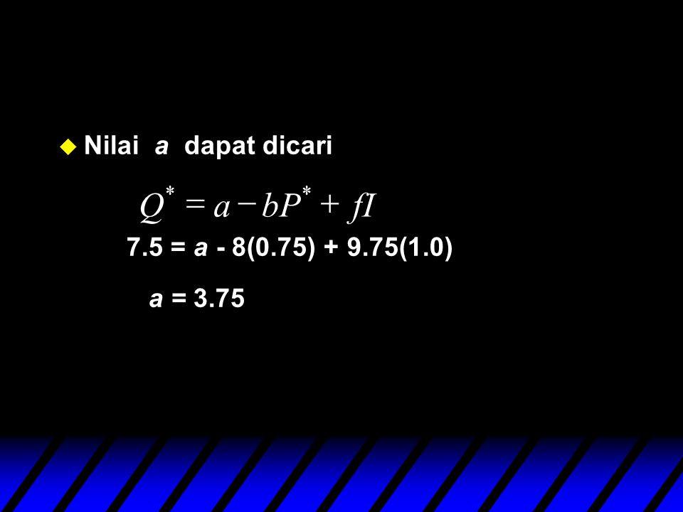u Nilai a dapat dicari 7.5 = a - 8(0.75) + 9.75(1.0) a = 3.75 fIbPaQ  **