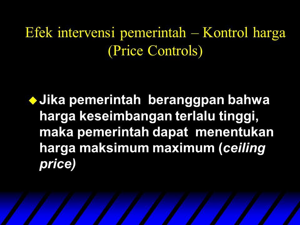 Efek intervensi pemerintah – Kontrol harga (Price Controls) u Jika pemerintah beranggpan bahwa harga keseimbangan terlalu tinggi, maka pemerintah dapat menentukan harga maksimum maximum (ceiling price)
