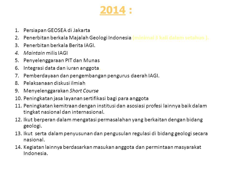 2014 : 1.Persiapan GEOSEA di Jakarta 2.Penerbitan berkala Majalah Geologi Indonesia (minimal 3 kali dalam setahun ). 3.Penerbitan berkala Berita IAGI.