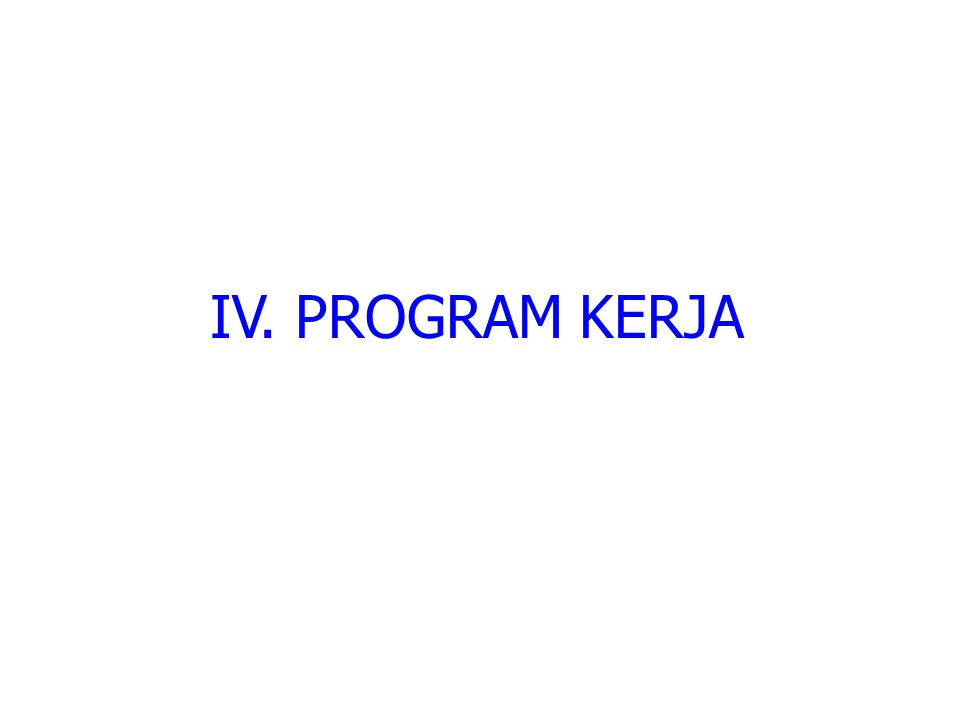 IV. PROGRAM KERJA
