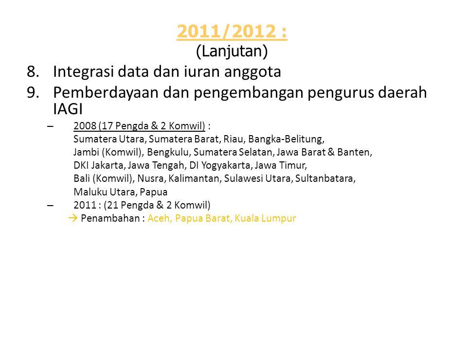 2011/2012 : (Lanjutan) 8.Integrasi data dan iuran anggota 9.Pemberdayaan dan pengembangan pengurus daerah IAGI – 2008 (17 Pengda & 2 Komwil) : Sumater