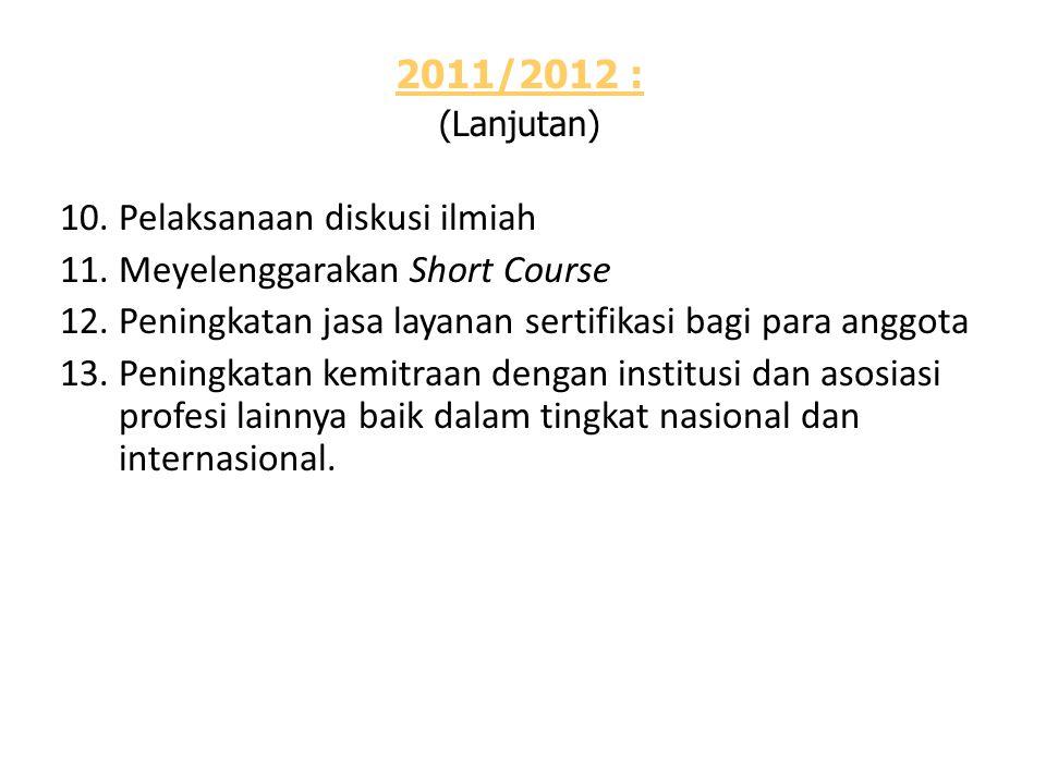 2011/2012 : (Lanjutan) 10.Pelaksanaan diskusi ilmiah 11.Meyelenggarakan Short Course 12.Peningkatan jasa layanan sertifikasi bagi para anggota 13.Peningkatan kemitraan dengan institusi dan asosiasi profesi lainnya baik dalam tingkat nasional dan internasional.