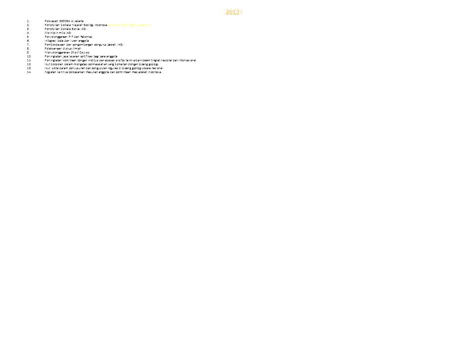 2013 : 1.Persiapan GEOSEA di Jakarta 2.Penerbitan berkala Majalah Geologi Indonesia (minimal 3 kali dalam setahun ). 3.Penerbitan berkala Berita IAGI.