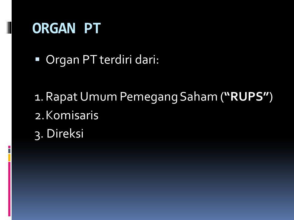 R U P S RUPS adalah organ PT yang memegang kekuasaan tertinggi dalam PT dan memegang segala wewenang yang tidak diberikan kepada Direksi atau Komisaris (Pasal 1 butir 3 UUPT).