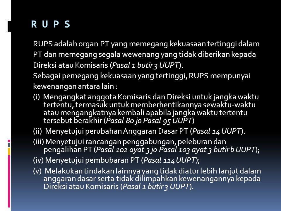 KOMISARIS Komisaris adalah organ PT yang bertugas melakukan pengawasan secara umum dan atau khusus serta memberikan nasihat kepada Direksi dalam menjalankan PT (Pasal 1 butir 5 UUPT).