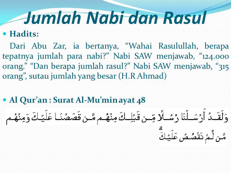 """Jumlah Nabi dan Rasul  Hadits: Dari Abu Zar, ia bertanya, """"Wahai Rasulullah, berapa tepatnya jumlah para nabi?"""" Nabi SAW menjawab, """"124.000 orang."""" """""""