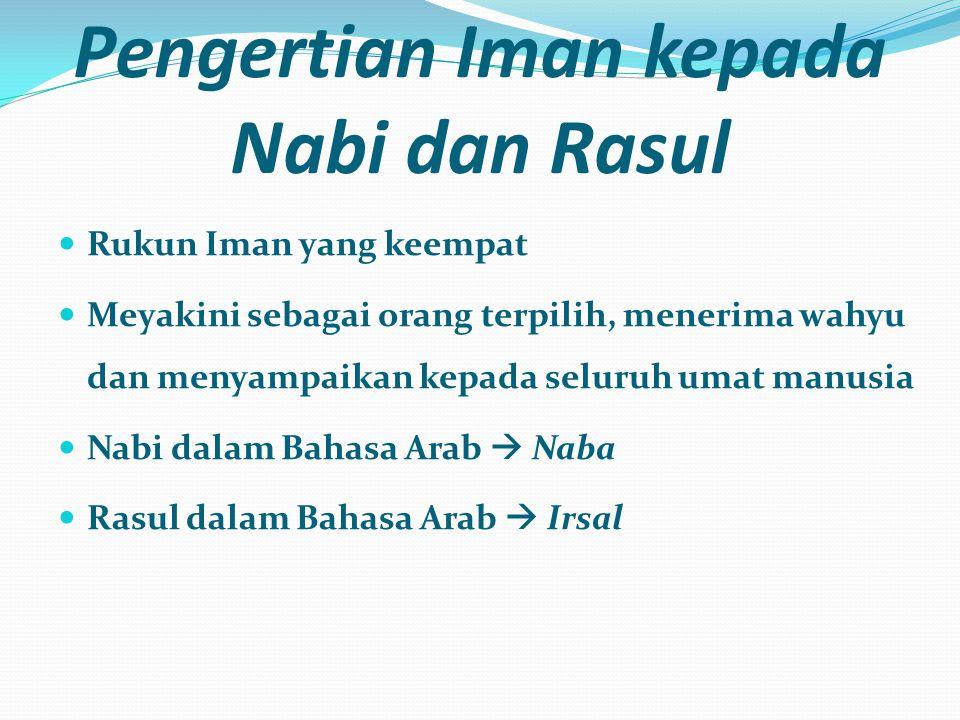Pengertian Iman kepada Nabi dan Rasul  Rukun Iman yang keempat  Meyakini sebagai orang terpilih, menerima wahyu dan menyampaikan kepada seluruh umat