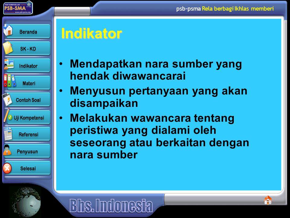 psb-psma Rela berbagi Ikhlas memberi Indikator •Mendapatkan nara sumber yang hendak diwawancarai •Menyusun pertanyaan yang akan disampaikan •Melakukan