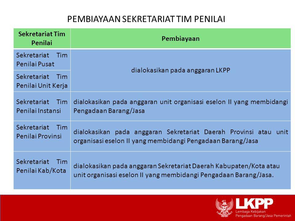 PEMBIAYAAN SEKRETARIAT TIM PENILAI Sekretariat Tim Penilai Pembiayaan Sekretariat Tim Penilai Pusat dialokasikan pada anggaran LKPP Sekretariat Tim Pe