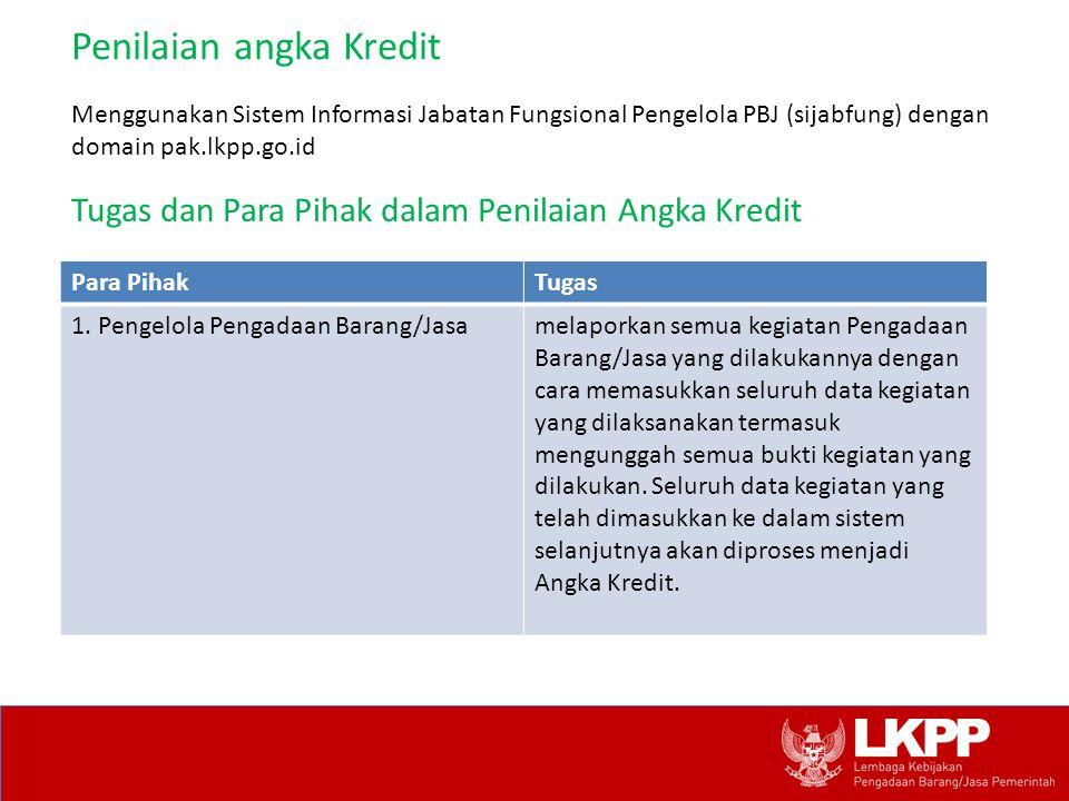 Penilaian angka Kredit Tugas dan Para Pihak dalam Penilaian Angka Kredit Menggunakan Sistem Informasi Jabatan Fungsional Pengelola PBJ (sijabfung) den