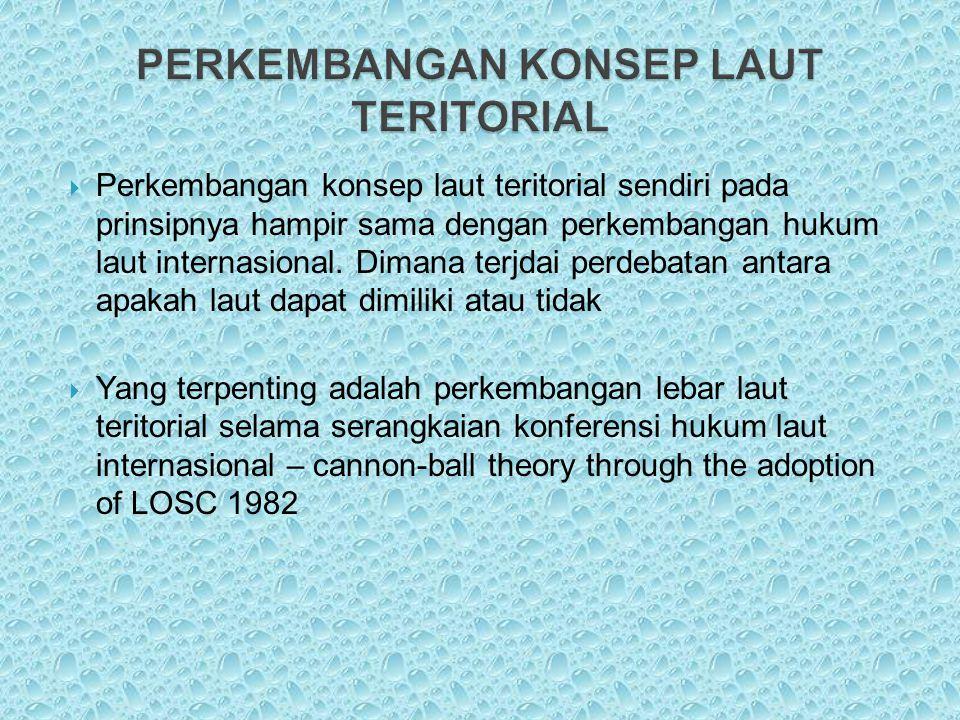  Perkembangan konsep laut teritorial sendiri pada prinsipnya hampir sama dengan perkembangan hukum laut internasional. Dimana terjdai perdebatan anta