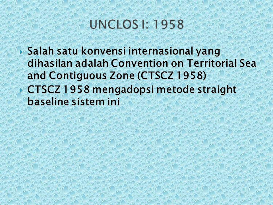  Salah satu konvensi internasional yang dihasilan adalah Convention on Territorial Sea and Contiguous Zone (CTSCZ 1958)  CTSCZ 1958 mengadopsi metod