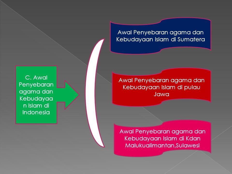 Awal Penyebaran agama dan Kebudayaan Islam di Sumatera Awal Penyebaran agama dan Kebudayaan Islam di pulau Jawa Awal Penyebaran agama dan Kebudayaan I