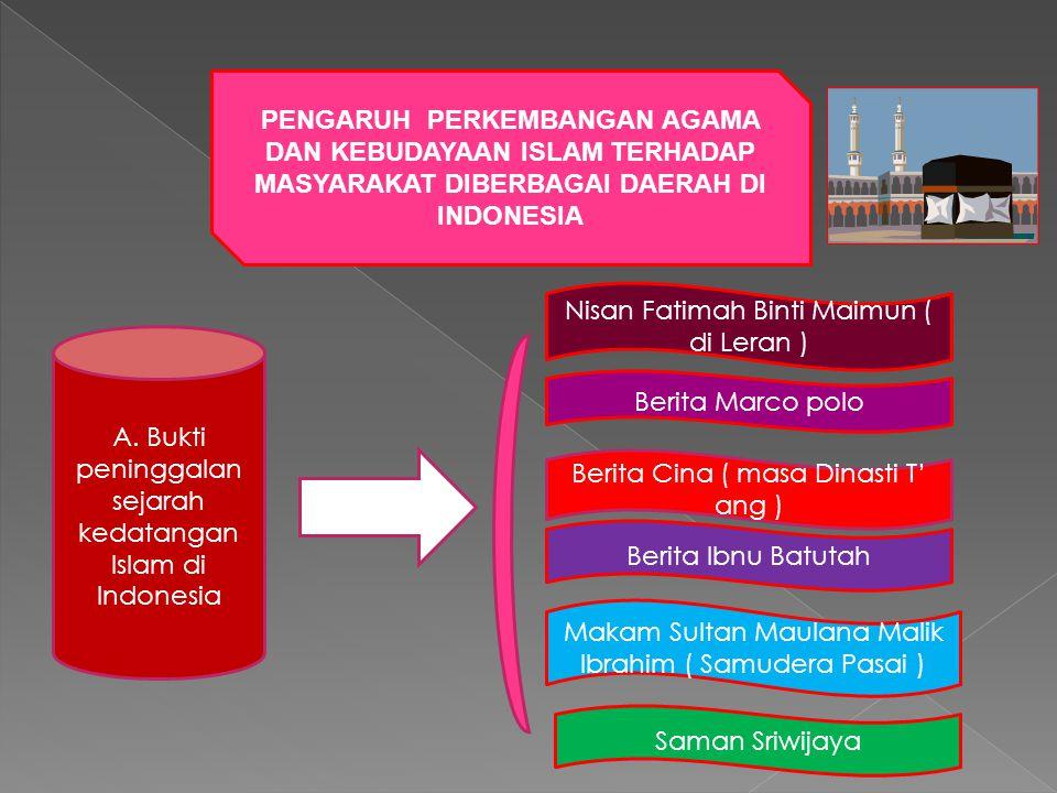 PENGARUH PERKEMBANGAN AGAMA DAN KEBUDAYAAN ISLAM TERHADAP MASYARAKAT DIBERBAGAI DAERAH DI INDONESIA A. Bukti peninggalan sejarah kedatangan Islam di I