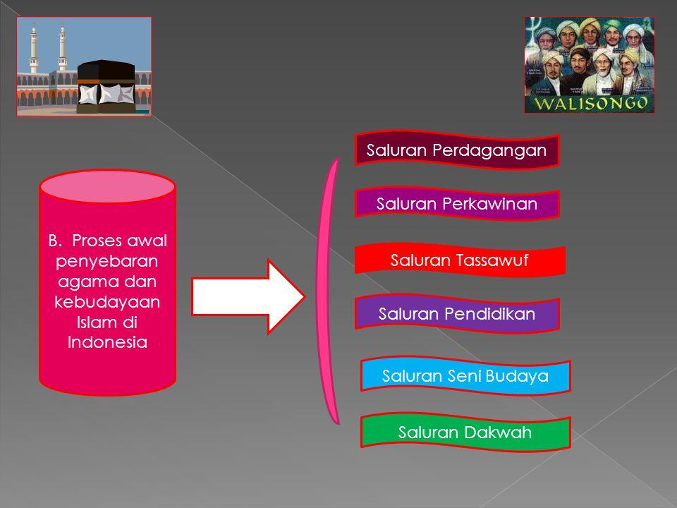 B. Proses awal penyebaran agama dan kebudayaan Islam di Indonesia Saluran Perdagangan Saluran Perkawinan Saluran Tassawuf Saluran Pendidikan Saluran S
