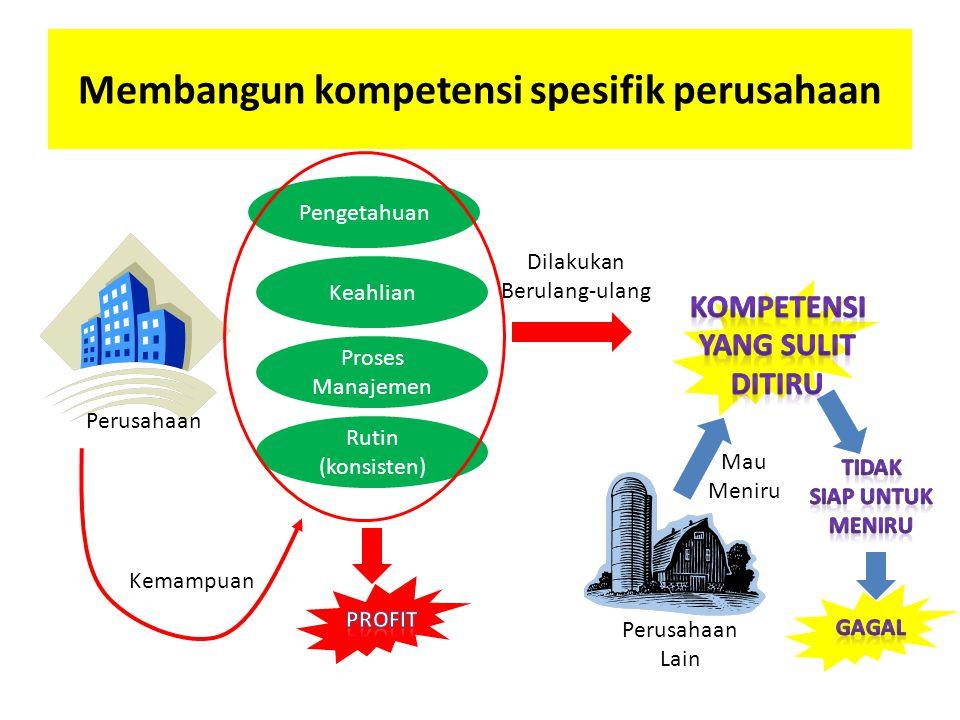 Membangun kompetensi spesifik perusahaan Perusahaan Pengetahuan Keahlian Proses Manajemen Rutin (konsisten) Mau Meniru Perusahaan Lain Dilakukan Berulang-ulang Kemampuan